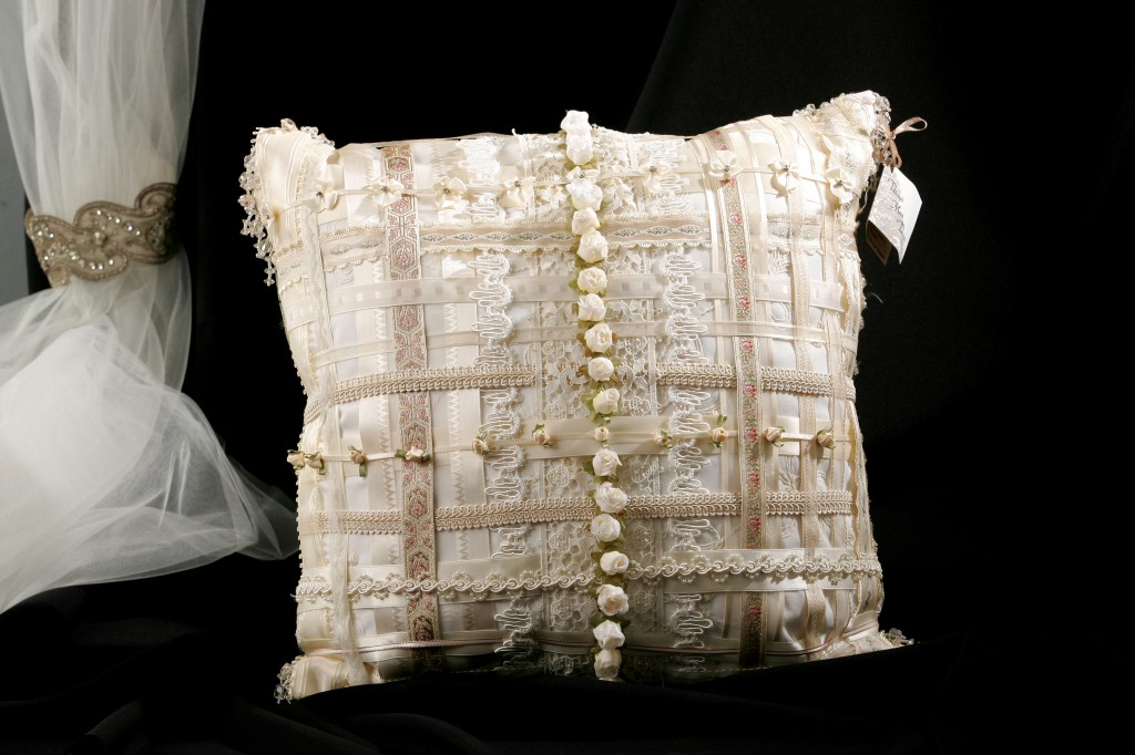 "My very first bridal ribbon pillow I showed at the Garden Room's ""Open Call"" for designers in 2004."