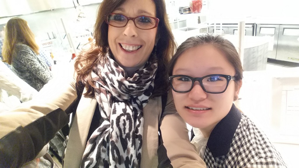 A selfie of my 19 year old daughter, Qin, and I at Dallas Market getting some lunch.