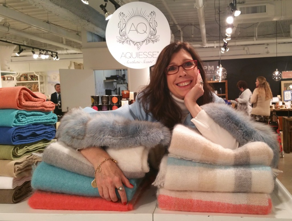 Me taking a break in Dallas on Peacock Alley's incredible cozy mohair throws.