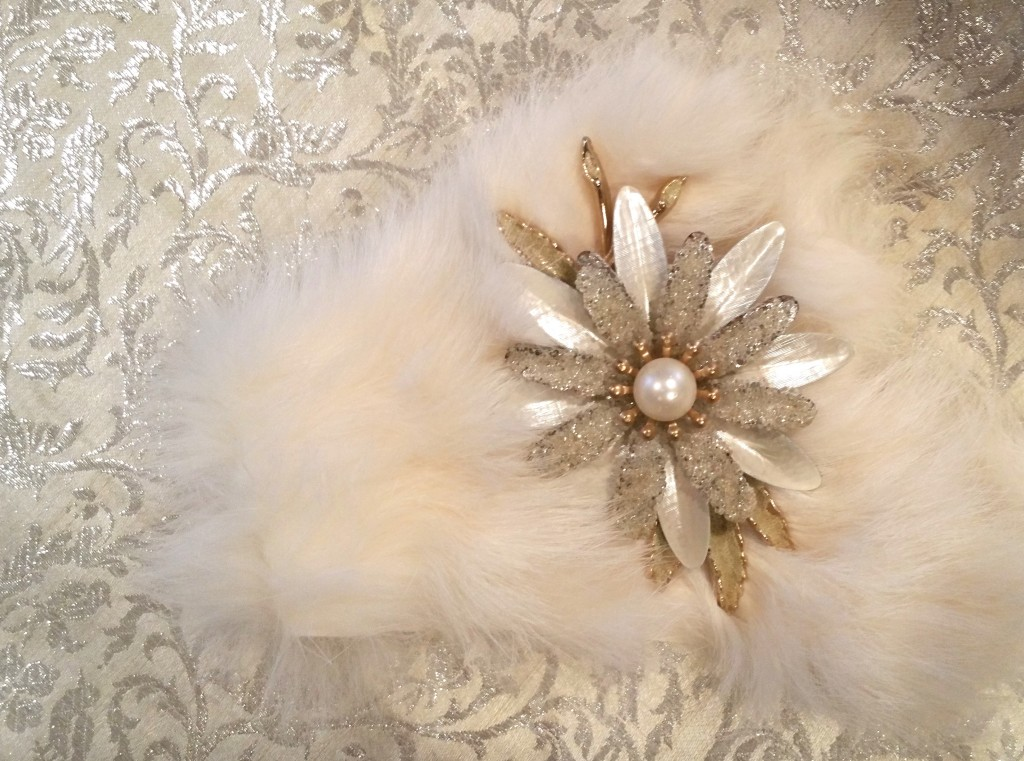 My own little #WinterWhite magic tinkering around in my studio with vintage white metallic fabric, fur and a multil