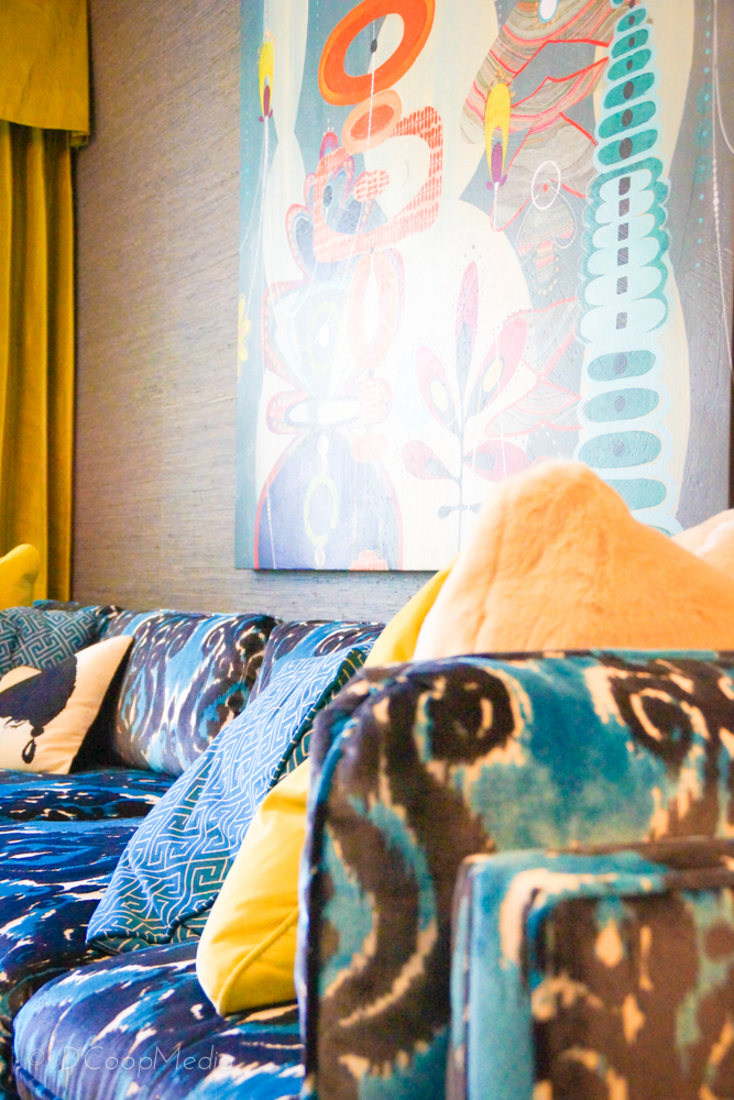 More delicious details of THE couch that everyone's talking about designed by Parker Kennedy with Robert Allen textiles.
