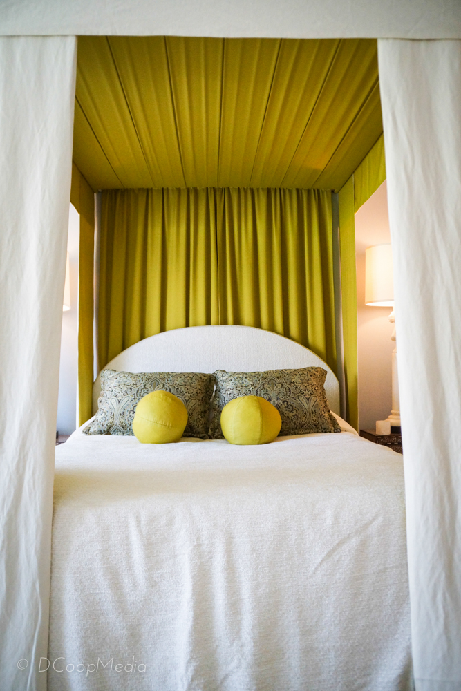 Bedroom was designed by Mark Cutler.  Canopy bed was made by Mike Ragan/RAGS.