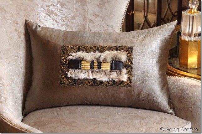 "Deborah Main one-of-a-kind ""Vintage French Modern Tribal"" entered for ""Invincible Me Pillow Art Challenge"". Photography by Gregg Cestaro on location at John-William Interiors, Austin, Texas."
