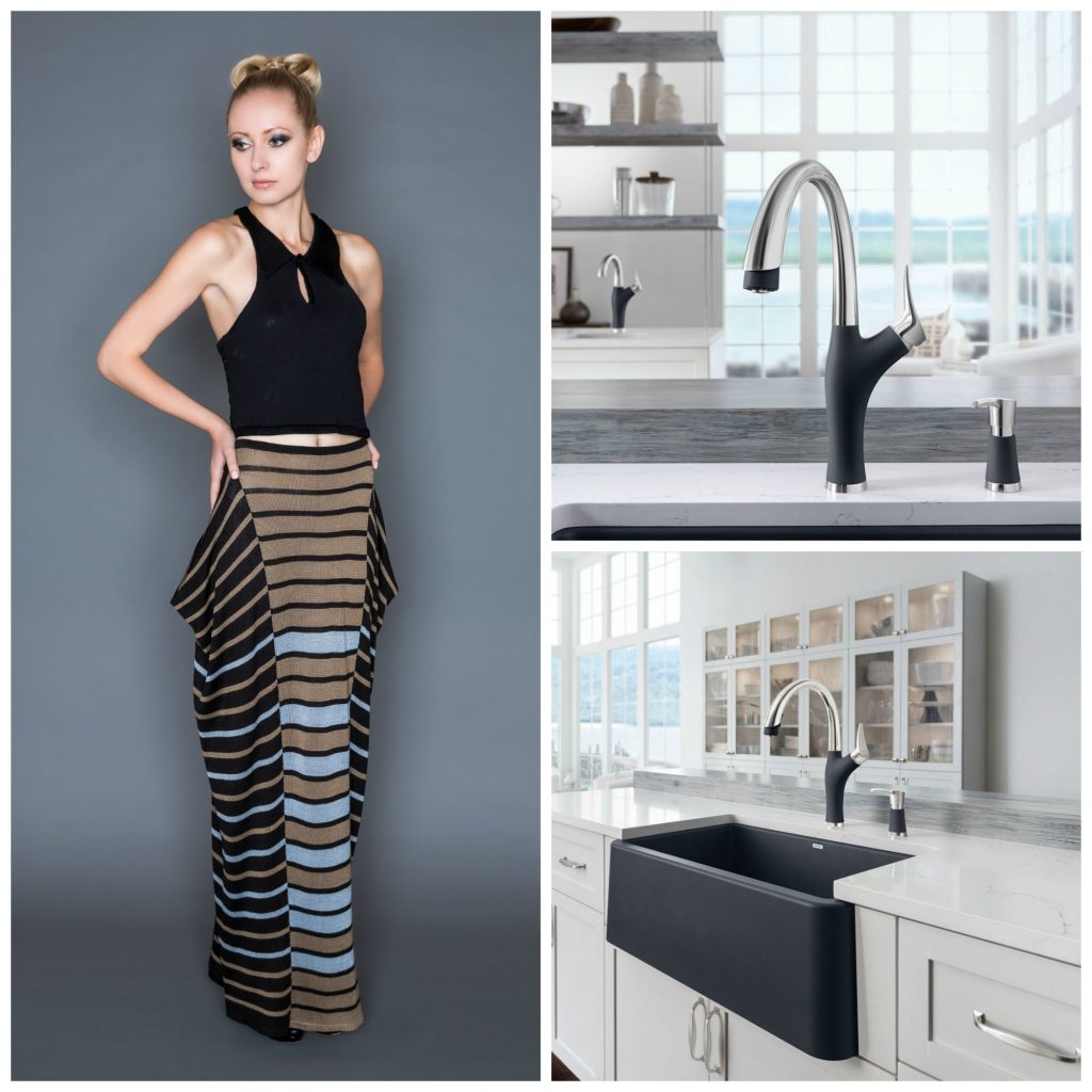 BLANCO IKON apron sink and ARTERO faucet paired with the fashion of RESPONSIVE TEXTILES.