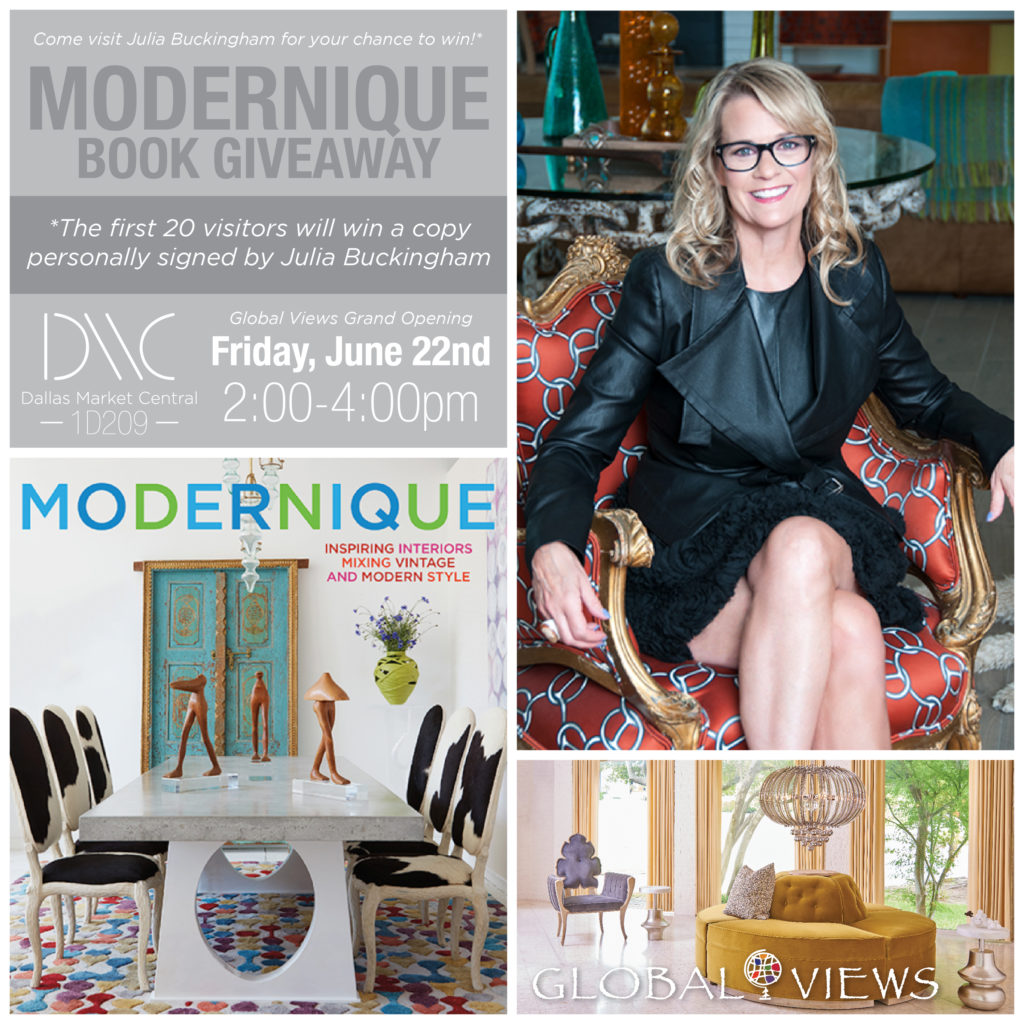 julia buchingham, modernique, book giveaway, global views, grand opening, Interior Home + Design Center, Friday, June 22nd, 2 - 4 p.m